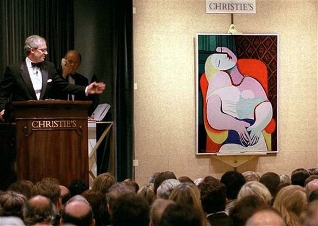 Christie's subasto el cuadro de picaso, el sueño, por una cantidad de dinero que luego se incrementaría