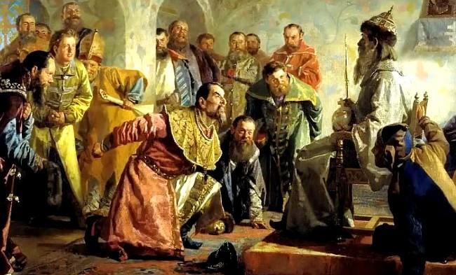Nikolái Névrev (1830-1904), pinto una obra donde se ve la corte de Iván el terrible.
