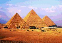 El conjunto cuenta con tres pirámides, entre ellas la Gran Pirámide de Giza