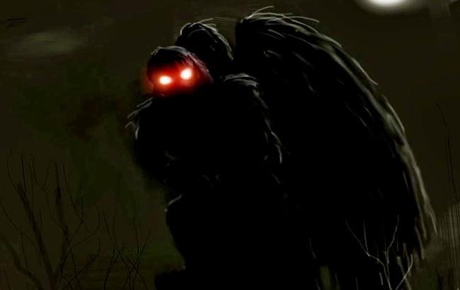 El mothman el hombre polilla extraña criatura de dos metros y color gris, con ojos rojos